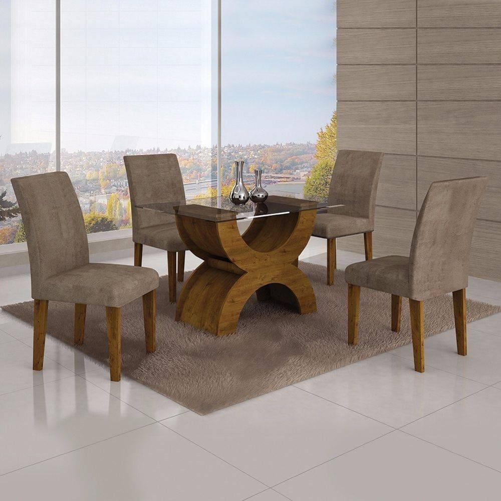 Conjunto Sala De Jantar Mesa Tampo Vidro 120cm E 4 Cadeiras R