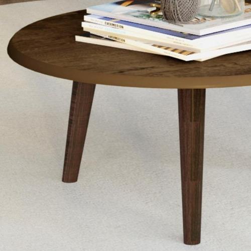 conjunto sala estar mesa centro mesa lateral madeira rústico