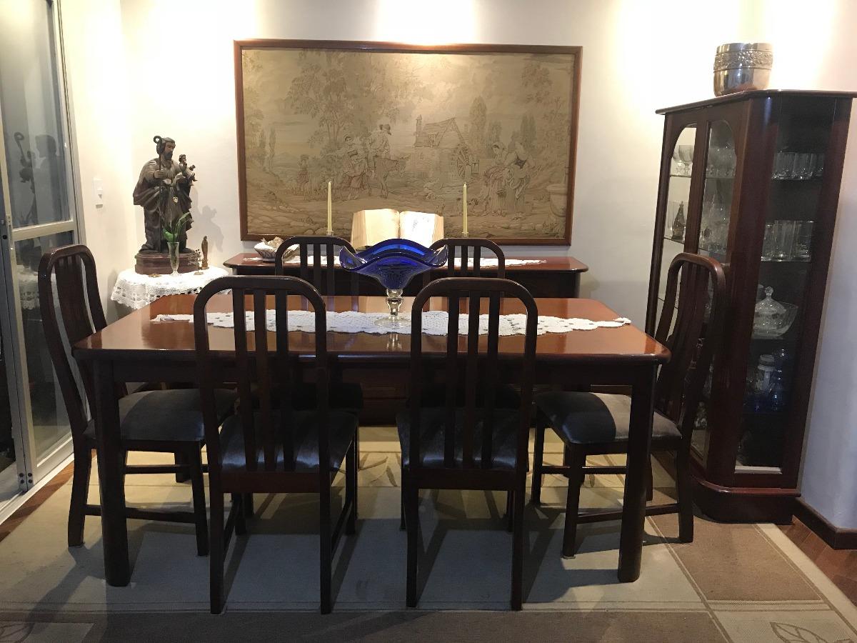 Conjunto Sala Jantar Antiga Mesa Cadeiras Buffet Cristaleira R