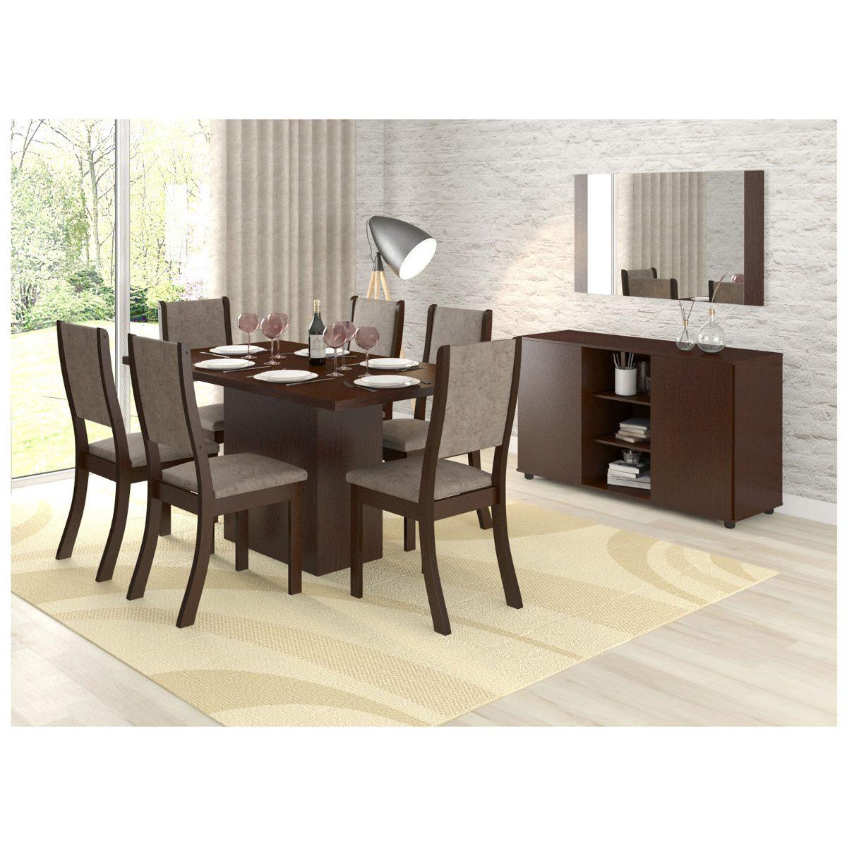 Conjunto Sala Jantar Mesa 6 Cadeiras Buffet E He R 104990 Em