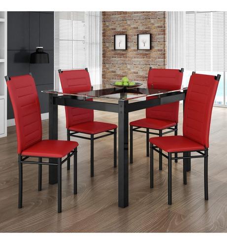 conjunto sala jantar tokio mesa 4 cadeiras art panta b