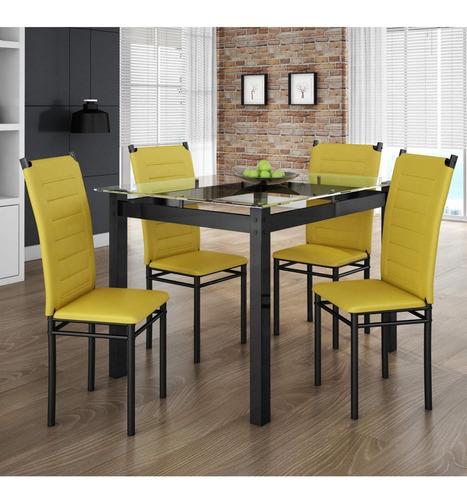 conjunto sala jantar tokio mesa 4 cadeiras art panta d