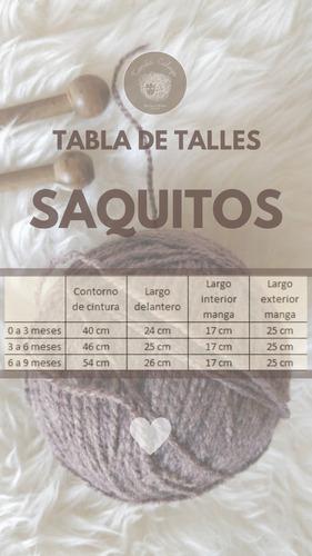 conjunto saquito + pechito-tejido a mano - lana premium