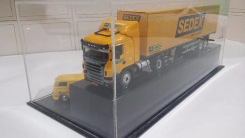 conjunto scania - correios - escala 1/50 com cx de acrilico