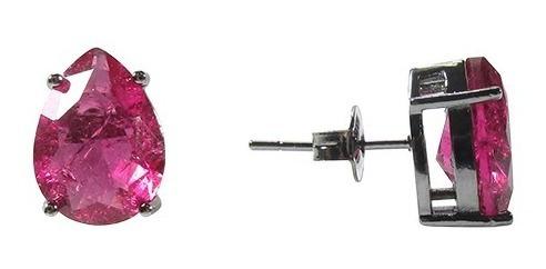 conjunto semijoia feminino gota grande rubi fusion banho ródio negro
