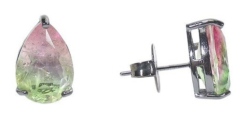 conjunto semijoia gota rainbow melancia banho ródio negro