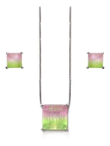conjunto semijoia quadrado rainbow melancia banhado
