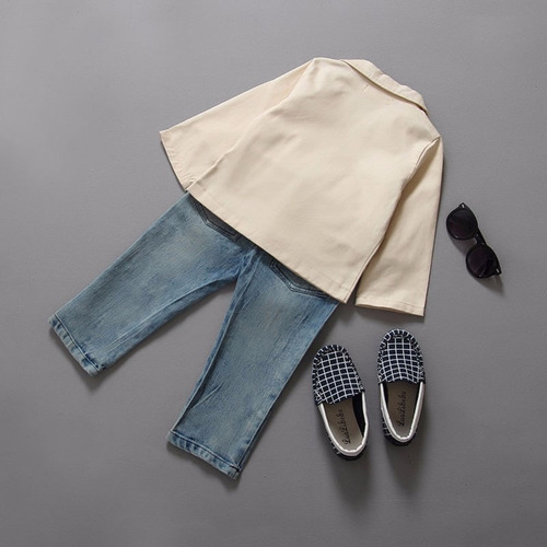 conjunto set blazer khaki camiseta jeans fashion niño 1 8año