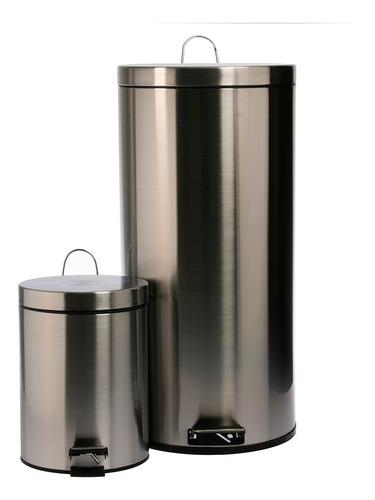 conjunto set cestos de residuos mainstays acero 30 lt + 5 lt