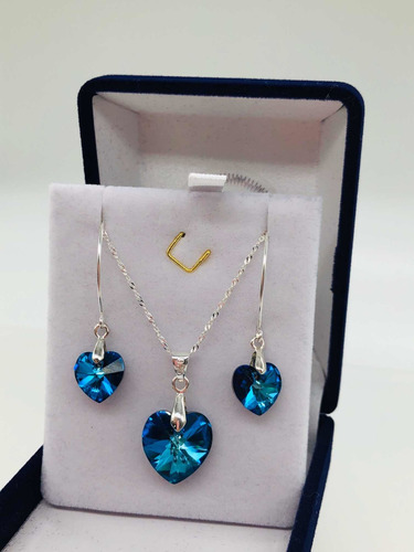 conjunto set corazón del océano cristal swarovski plata 925!