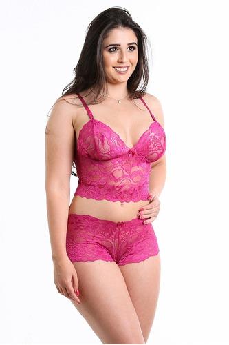 conjunto sexy lingerie cropped s/bojo top renda confortável
