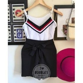 Conjunto Short Envelope + Blusa Crepe Tricolor Listra - R  59 7a1993542b7