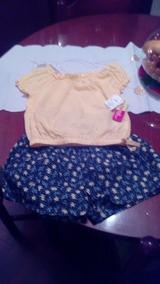 610ddeaa9 Conjunto Short Y Blusa Niña Talla 6 Importado Amarillo Y Azu