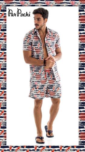 conjunto shorts + camisa - conjuntinho mesma estampa