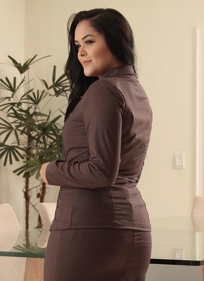 3a45ead219 conjunto social feminino saia e blazer ziper moda evangélica. Carregando  zoom.