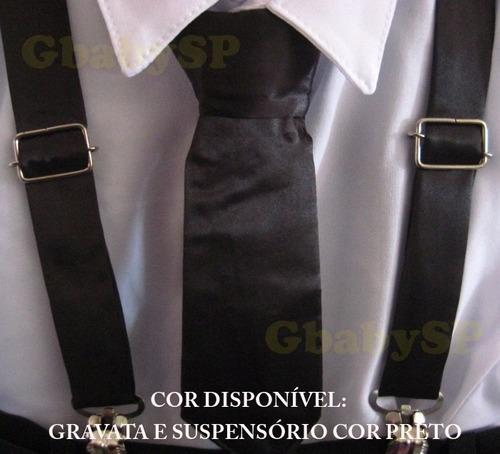 conjunto social infantil criança gravata e suspensório 1ao16