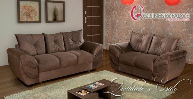 56069f449 Conjunto Sofá Riviera 2 E 3 Lugares Suede Muito Conforto - R  927