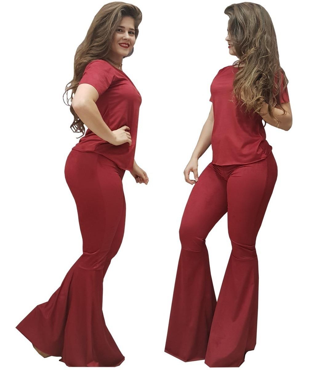 4e1e0ee589 conjunto suede moda feminina calça max flare blusa t-shirt. Carregando zoom.