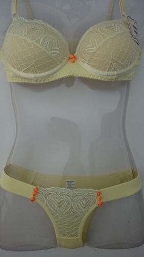 conjunto sutiã + calcinha renda amarelo customizado