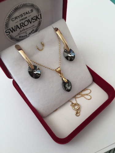 conjunto swarovski elements en oro goldfilled 14k