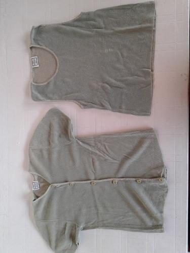 conjunto sweter y top verde, talle m