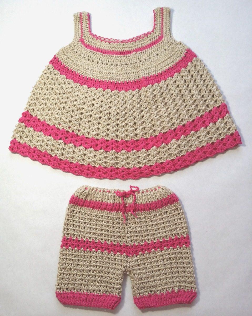 10f52e2d4 Conjunto Tejido A Crochet Para Bebes Niñas De 3-6 Meses - Bs. 45.000 ...