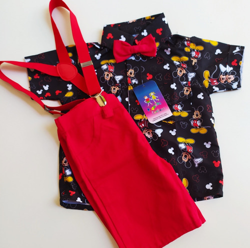conjunto tematico luxo mickey preto e vermelho festa