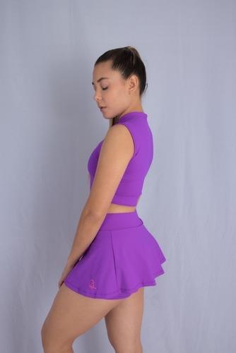 conjunto top con cremallera y falda short