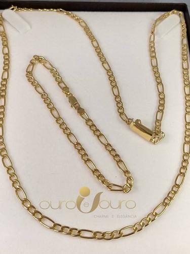 conjunto top cordão maciço e pulseira 29,00 gramas ouro 18k