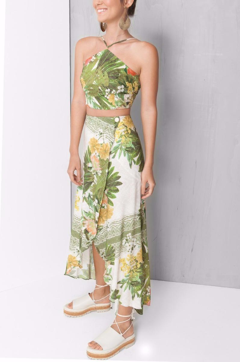 1a860baf0 Conjunto Top E Saia Midi Floral Brasil Dress To Farm - R$ 399,00 em ...