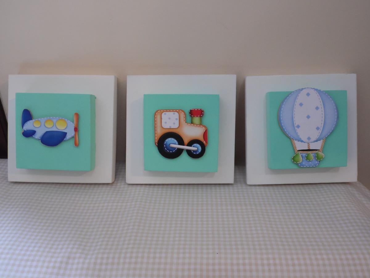 Conjunto Trio De Quadros Decorativos Para Quarto Beb R 59 00  ~ Como Fazer Quadros Decorativos Para Quarto De Bebe