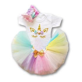 Conjunto Tutú Unicornio Pañalero Tiara Flores Disfraz Bebé