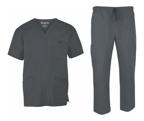 conjunto uniforme médico quirúrgico caballero gris oxford