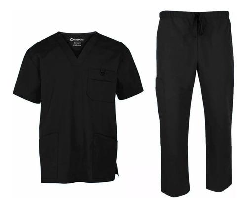conjunto uniforme médico quirúrgico scrubs caballero negro