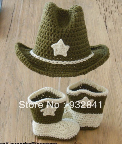 conjunto vaquero cowboy tejido crochet sombrero botas bebé