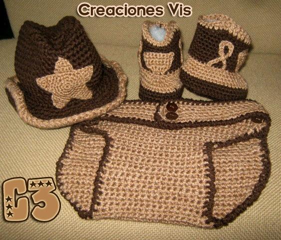 Conjunto Vaquero Cowboy Tejido Crochet Sombrero Botas Bebé ...