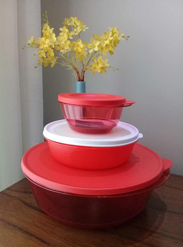 conjunto vermelho tupperware