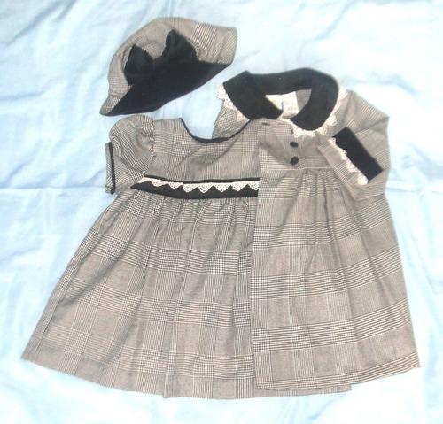conjunto vestido elegante para niña 24 meses  abrigo y gorro
