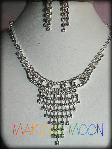 conjuntos 4 piezas x mayor gargantilla cristales mariann