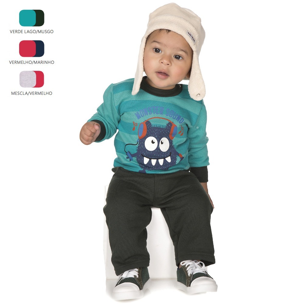 Kit 4 Conjuntos De Moletom Para Bebê Menino (p-m Inverno) - R  159 ... c37320f662c