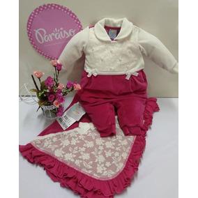 4278548bfa1ab Saida Maternidade Paraiso Plush Bebê Menina Macacao Cod 7971