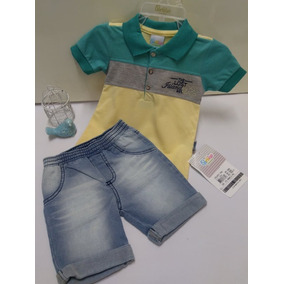 b4aa85e929 Conjunto Paraiso Bebe Menino Camisa Polo Bermuda Jeans 7848