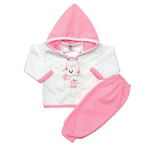 conjuntos de algodon manga larga capucha  bebe