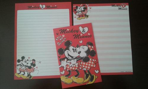 conjuntos de papéis de carta importados mickey e minnie