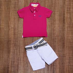 d11f53d8de1 Conjunto Infantil Masculino Camiseta Polo Bermuda Sarja Bco