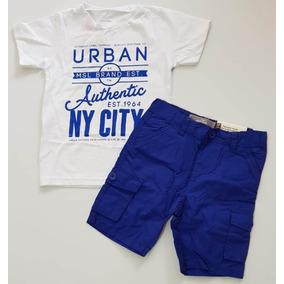 031da80a8c Conjunto Infantil Marisol Camiseta Bermuda Azul Tam 3p