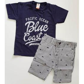 53e0e506a2 Conjunto Infantil Marisol Camiseta Bermuda Listrada Tam 3p