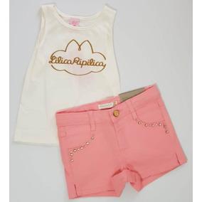 49363b715c Conjunto Blusa Regata Shorts Jeans Lilica Ripilica Tam 3p