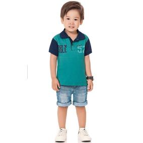 7e076a3021c Conjunto Infantil Brandili Mundi Pólo Bermuda Jeans Verão 2