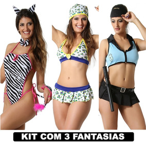 b4ddb74e5 Moda Intima Sexys Fantasia Erotica Kit Com 3 Roupas Intimas